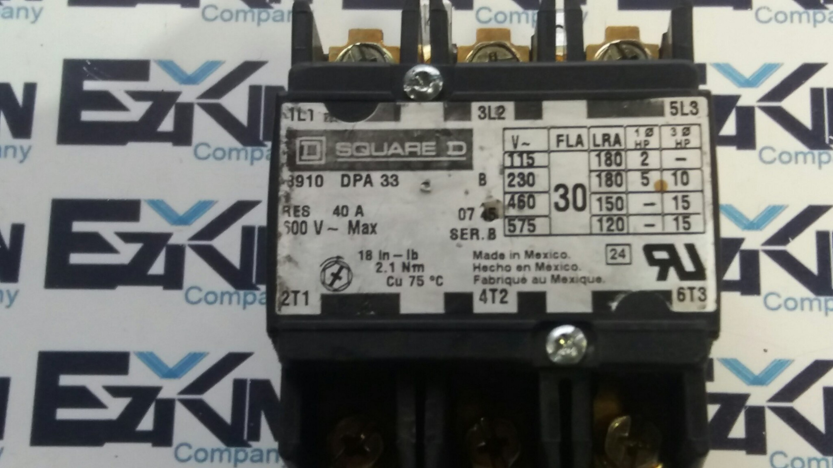 SQUARE D 8910 DPA33 CONTACTOR DEFINITE PURPOSE