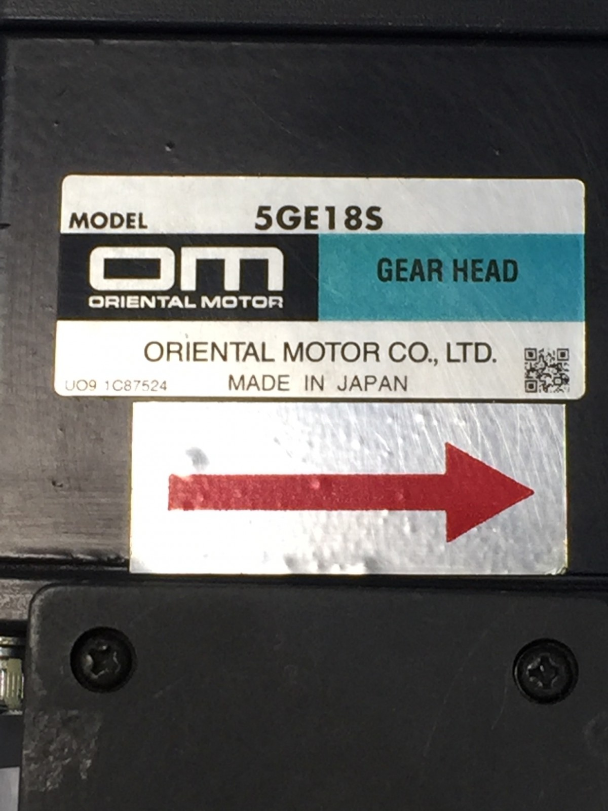 ORIENTAL MOTOR 5GE18S GEAR HEAD / 5IK60GE-AW2T INDUCTION MOTOR