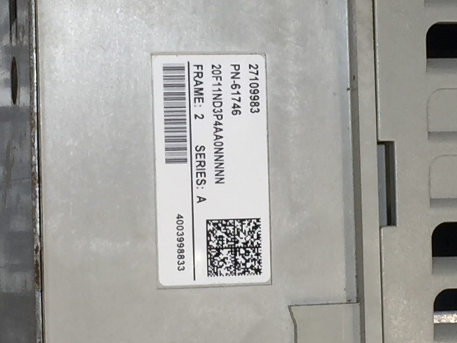 Allen-Bradley PowerFlex 753 20F11ND3P4AA0NNNNN SER.A AC Drive  20HP 3Ph