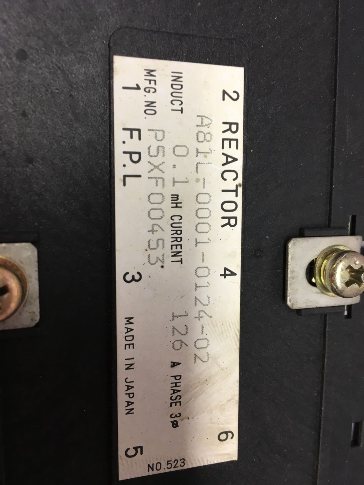 USED Fanuc A81L-0001-0124-02 REACTOR P5XF00453 0.1mH 126A 3Phase