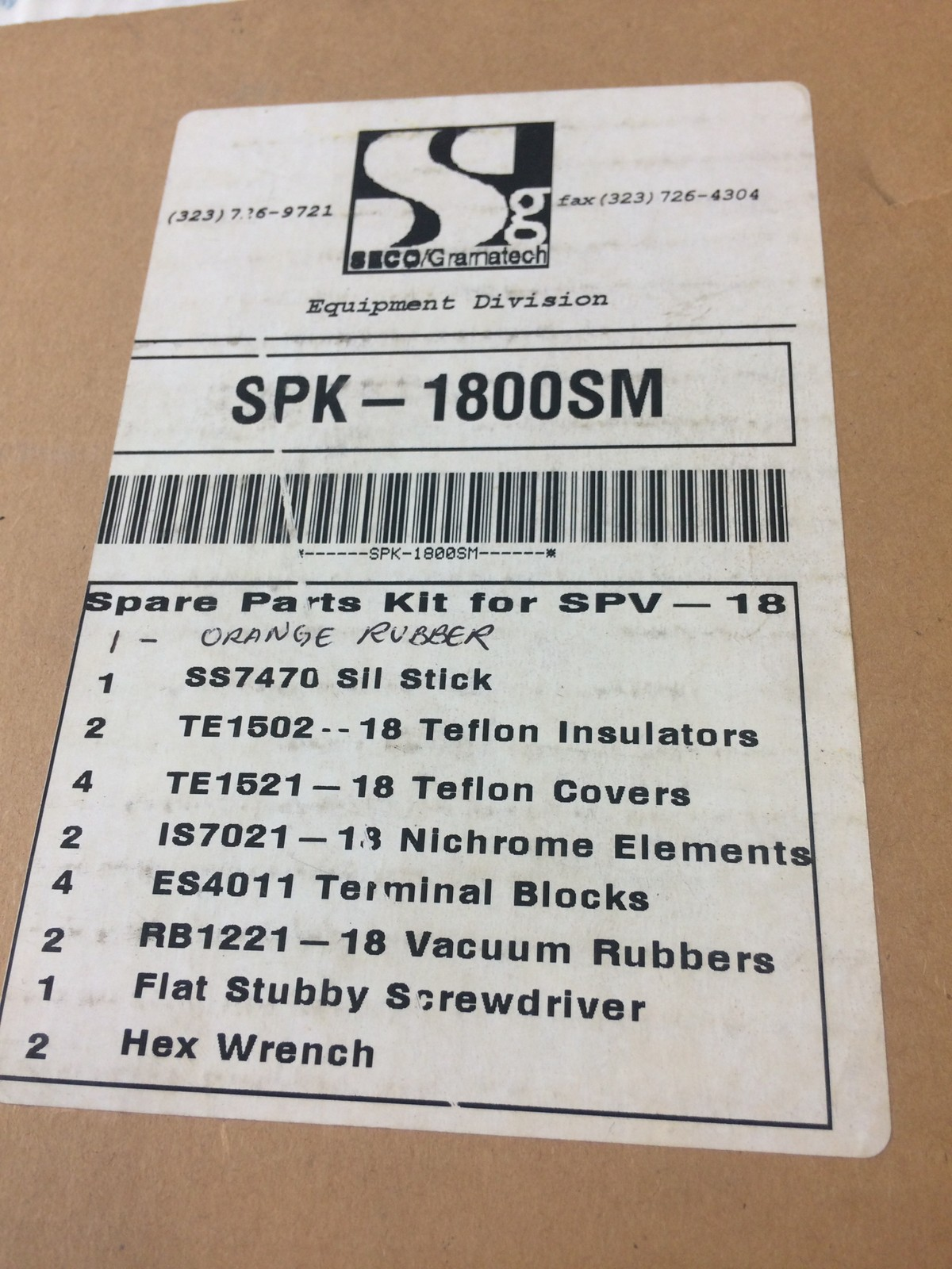 SECO/GRAMATECH SPK-1800SM SPARE PARTS KIT FOR SPV-18