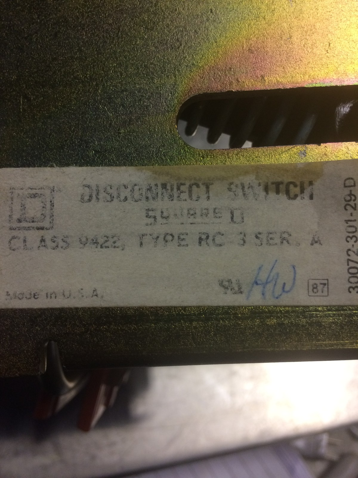 SQUARE D DISCONNECT SWITCH CLASS 9422, TYPE RC-3 SER. A/FRS-R-5 FUSE