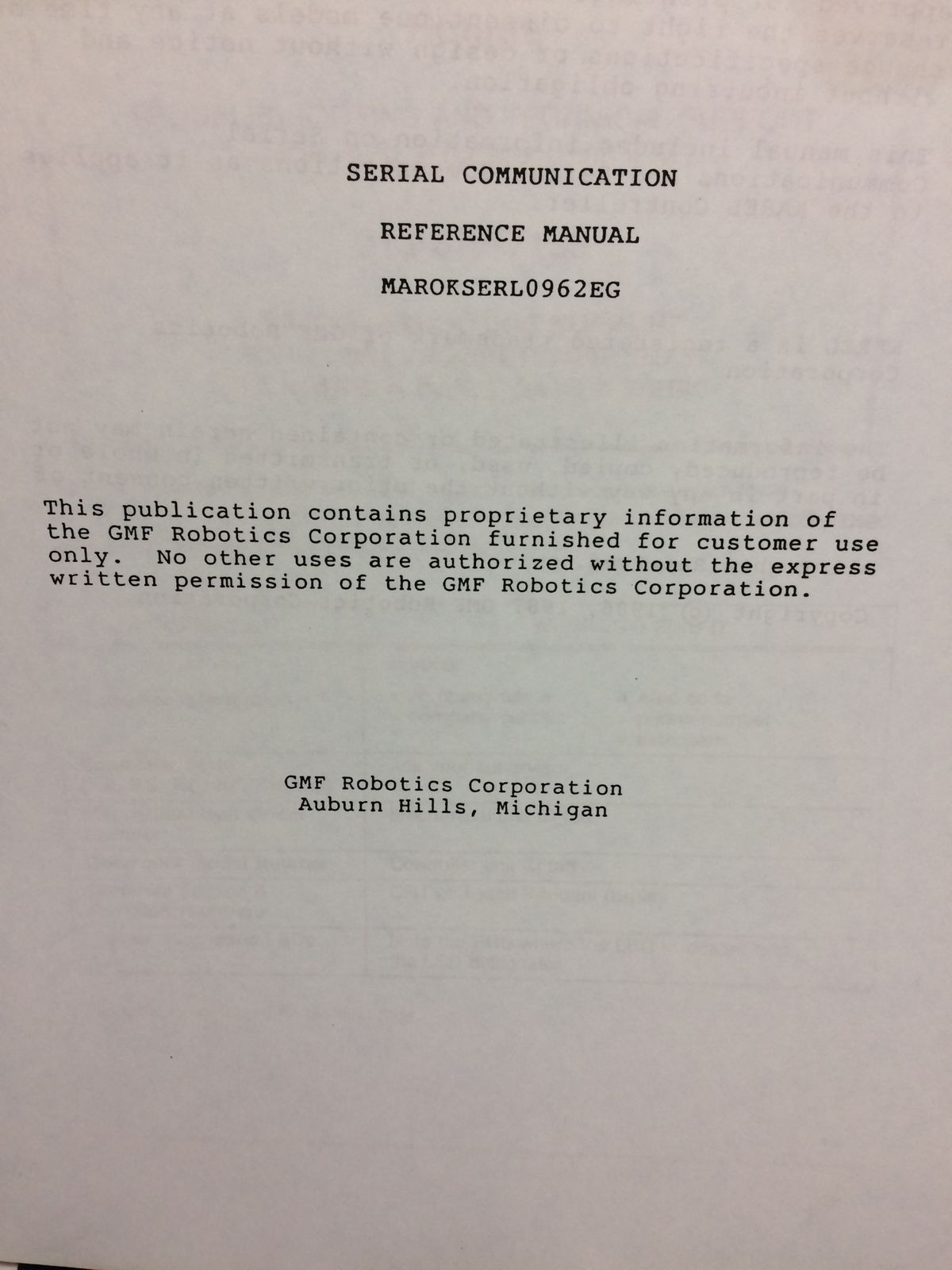 SERIAL COMUNICATION REFERENCE MANUAL