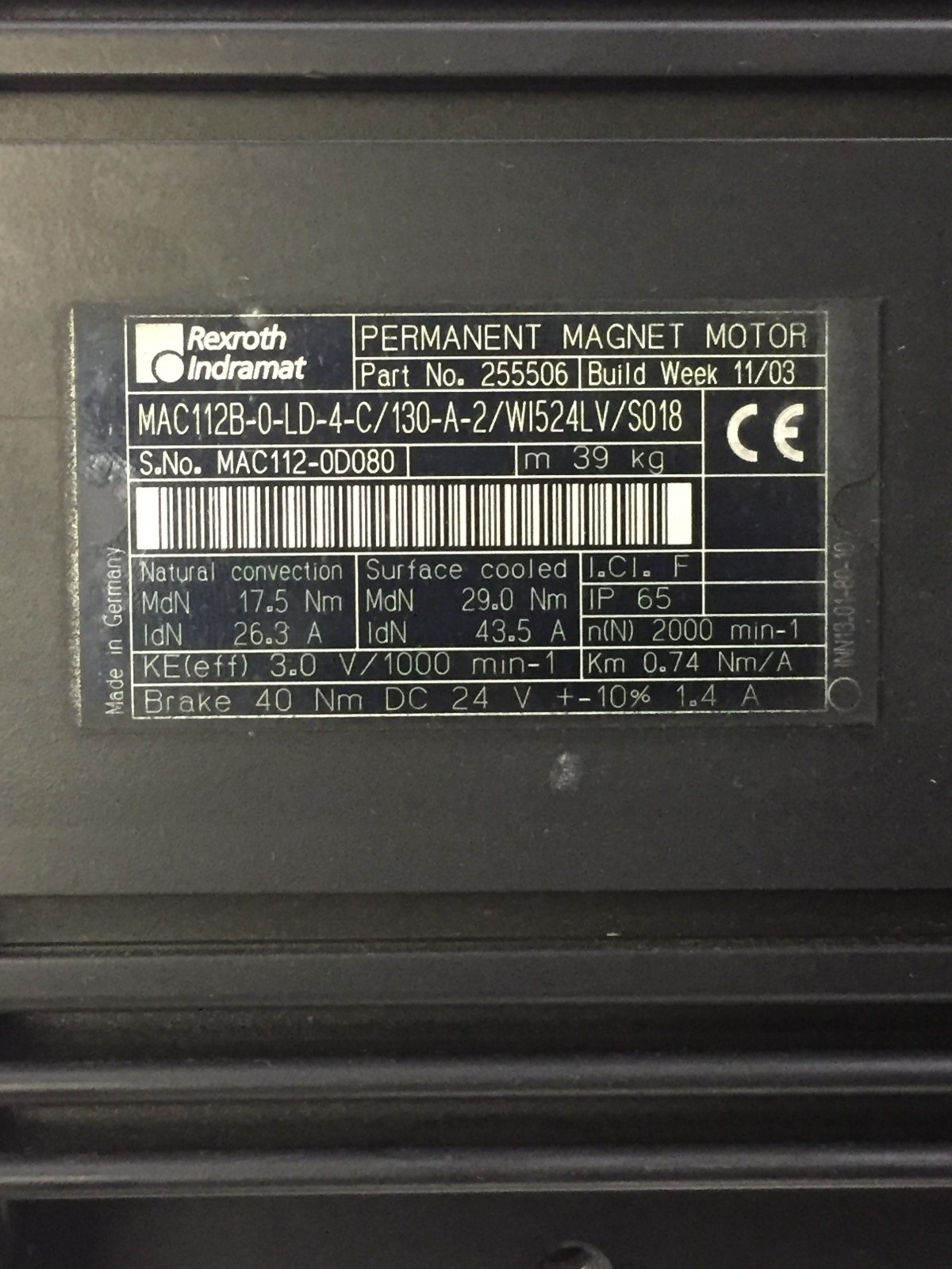 Rexroth Indramat MAC112B-0-LD-4-C/130-A-2/W1524LV/S018 new