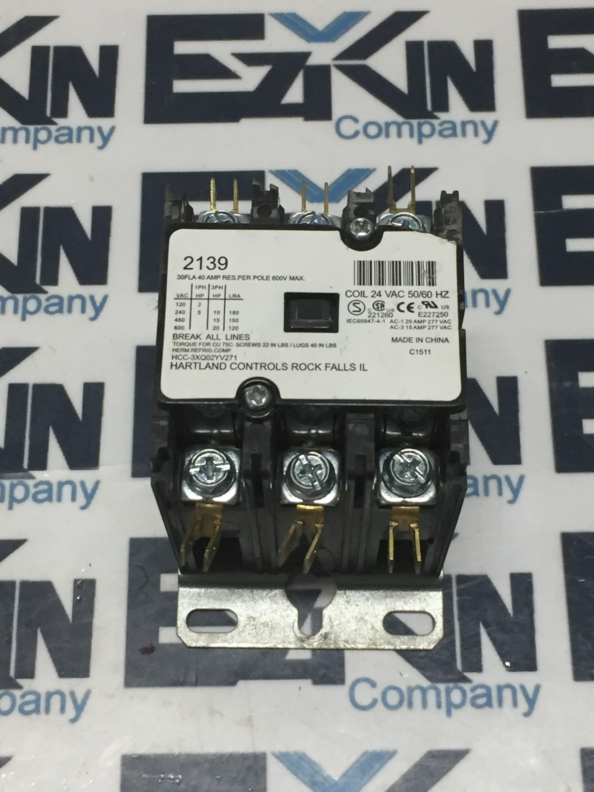 30FLA Contactor Definite Purpose 40A 3Pole 24vac coil (cosmetic signs)