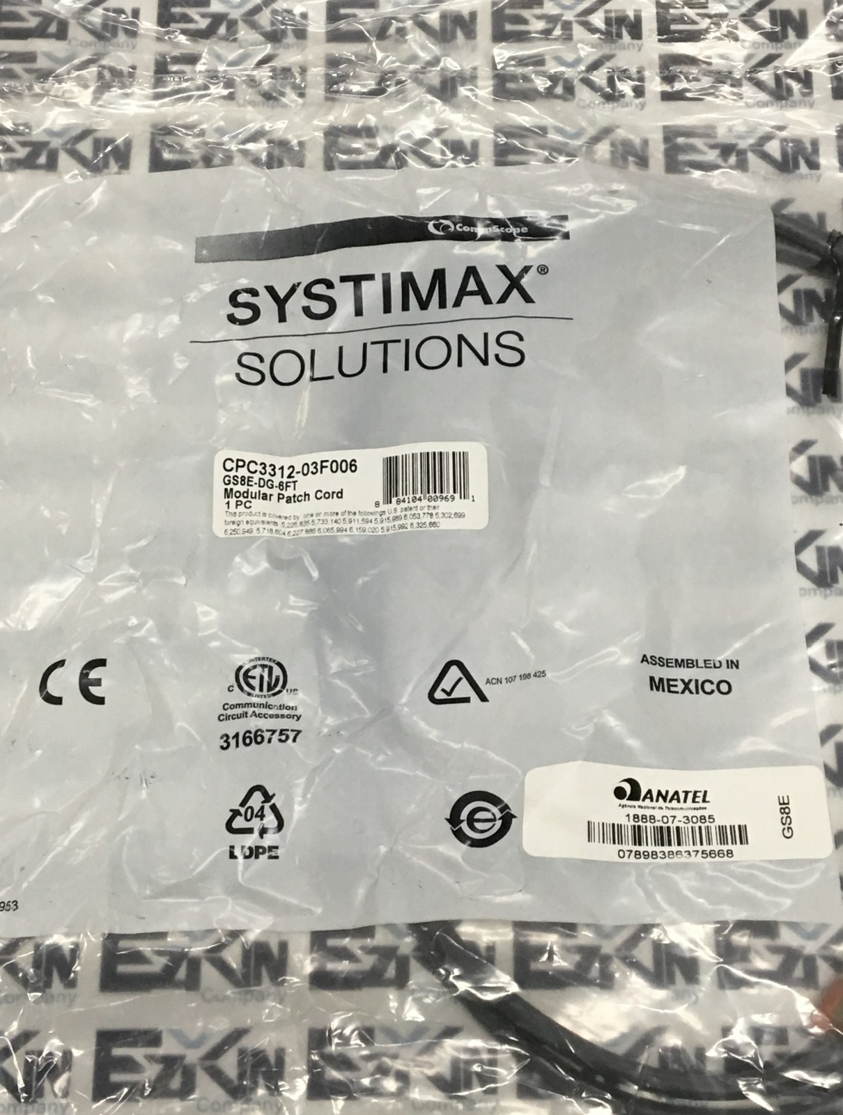 Commscope Systimax CPC3312-03F006 Cat 6 Patch Cord 6 ft GS8E-DG-6FT (Lot of 10)