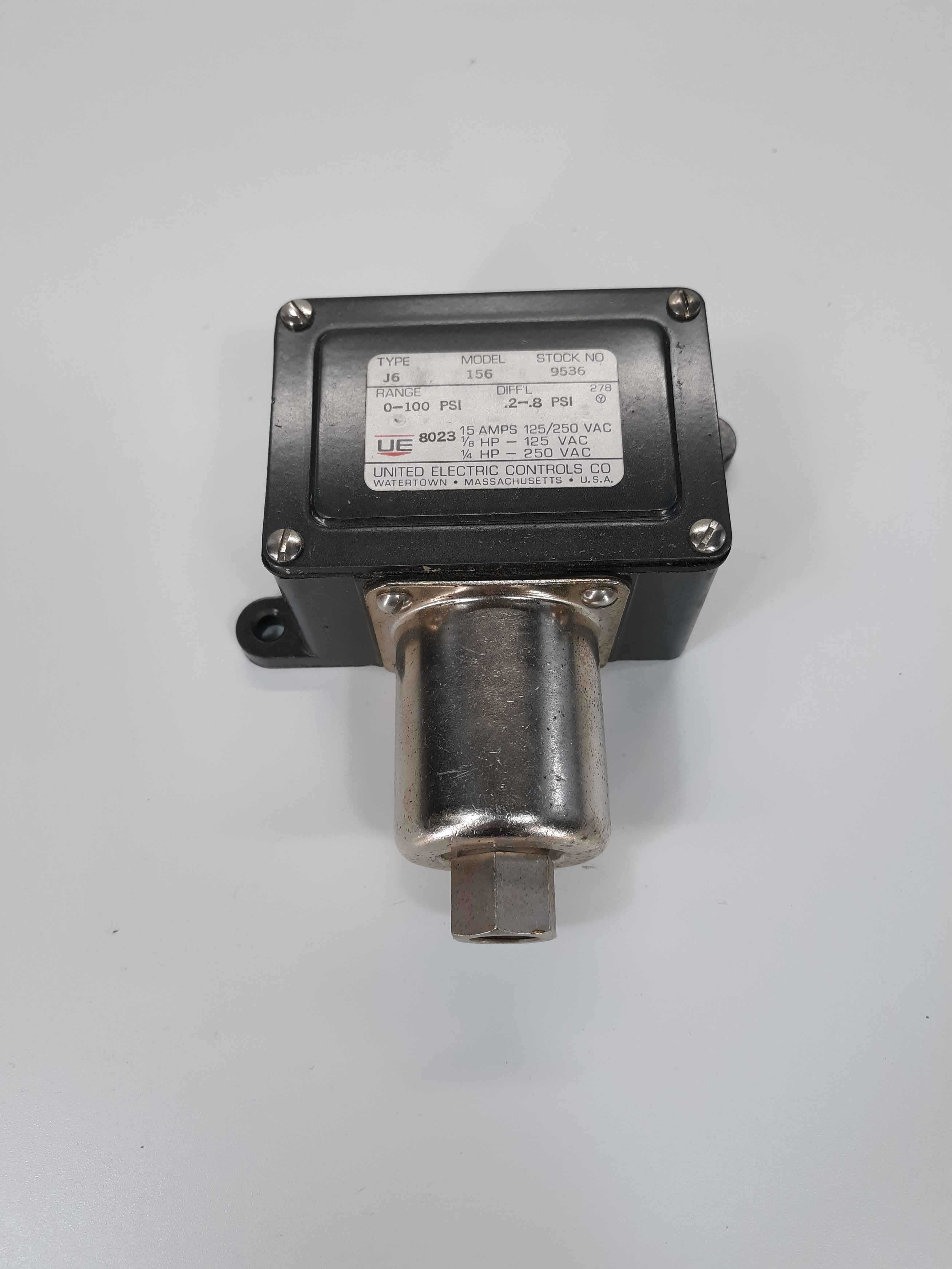 United Electric Controls Type J6 Model 156 Pressure Switch