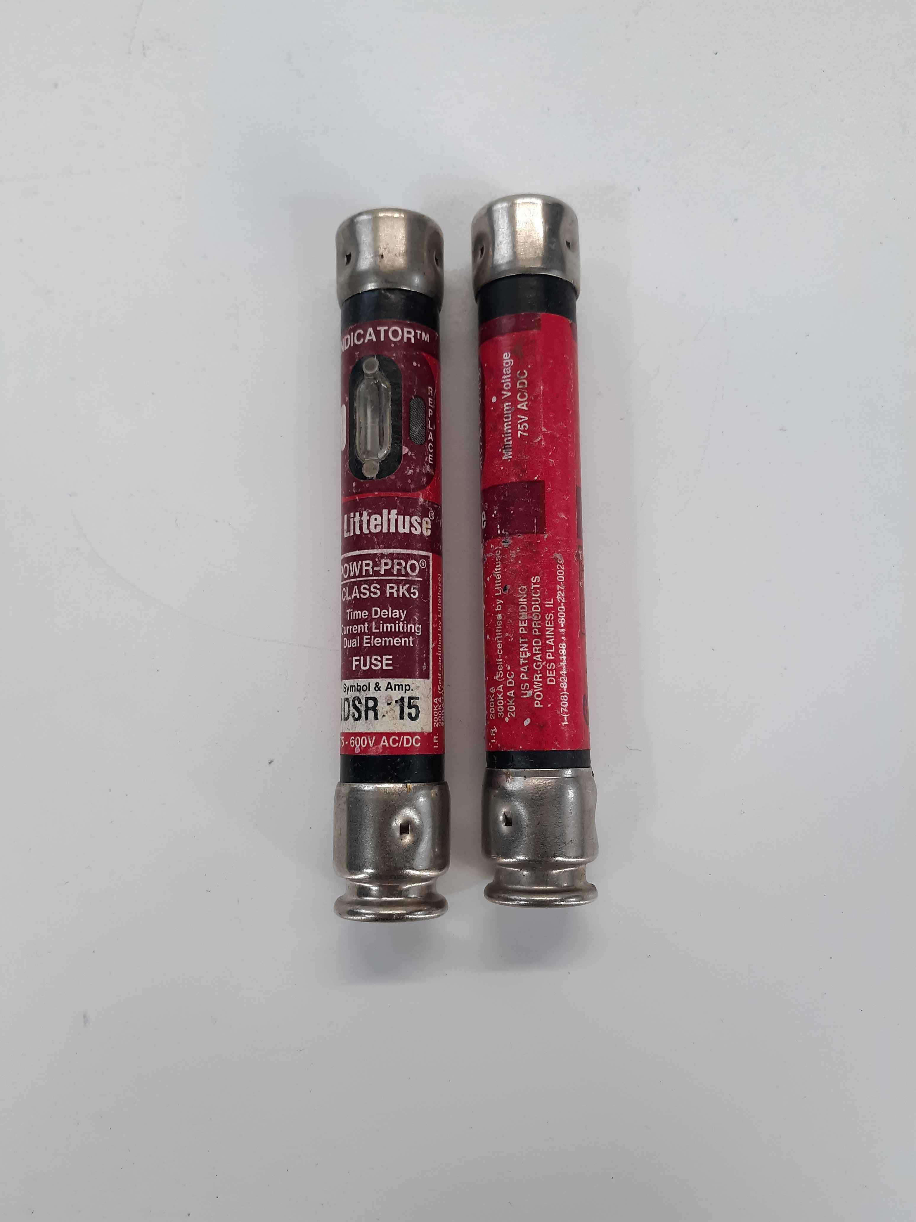 Littlefuse IDSR 15 75-600v ac/dc Powr-Pro Class RK5 (Lot of 2)