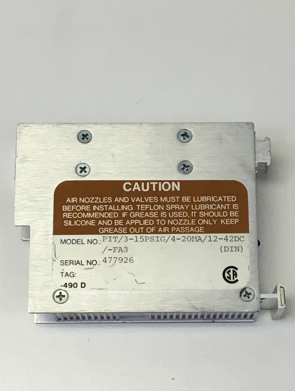 Moore Industries Pressure 3-15PSIG/4-20MA/12-42DC-FA3  Current Transmitter PIT