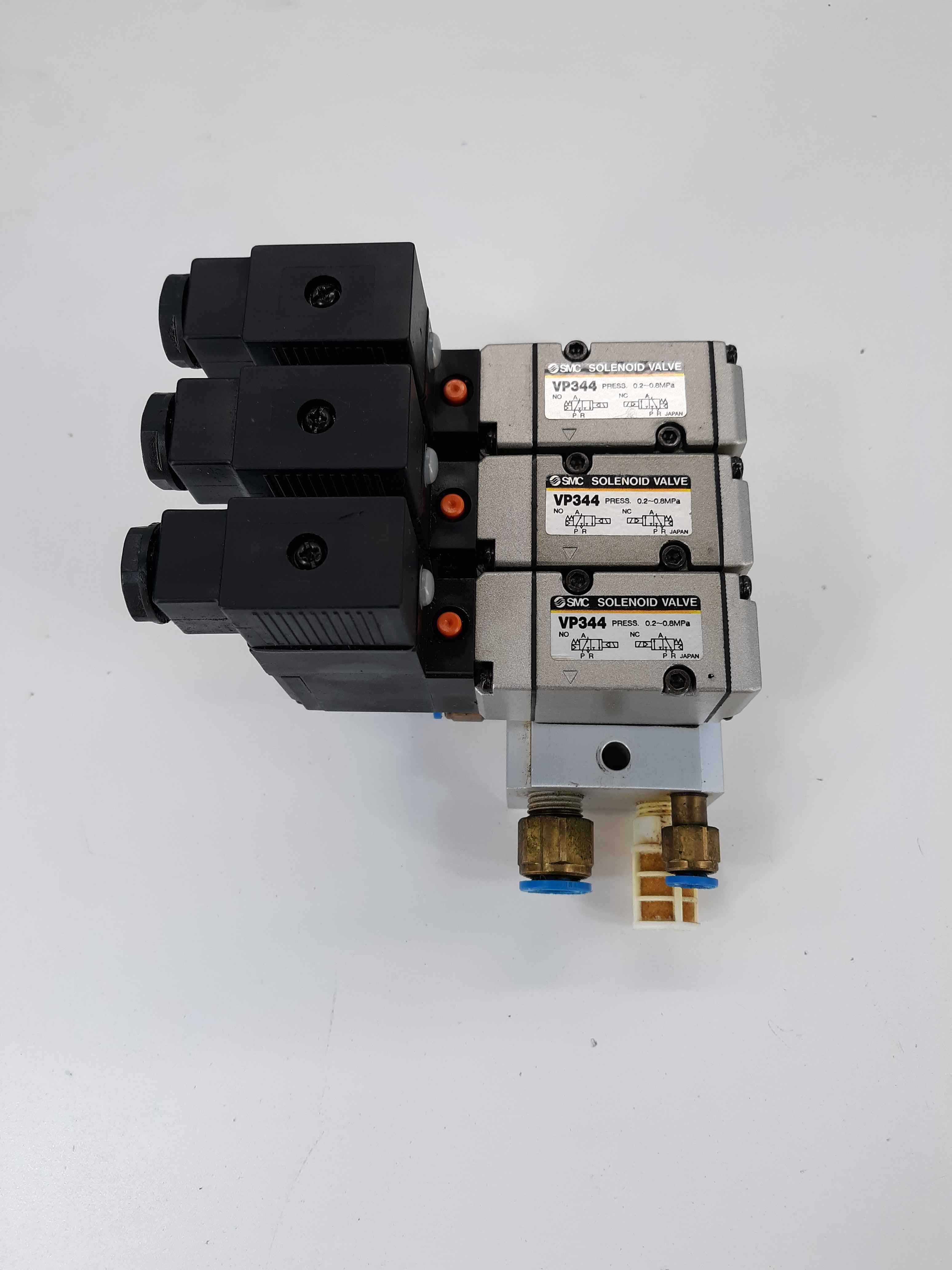 SMC VP344 Solenoid Valve Assembly (3) w/Manifolds