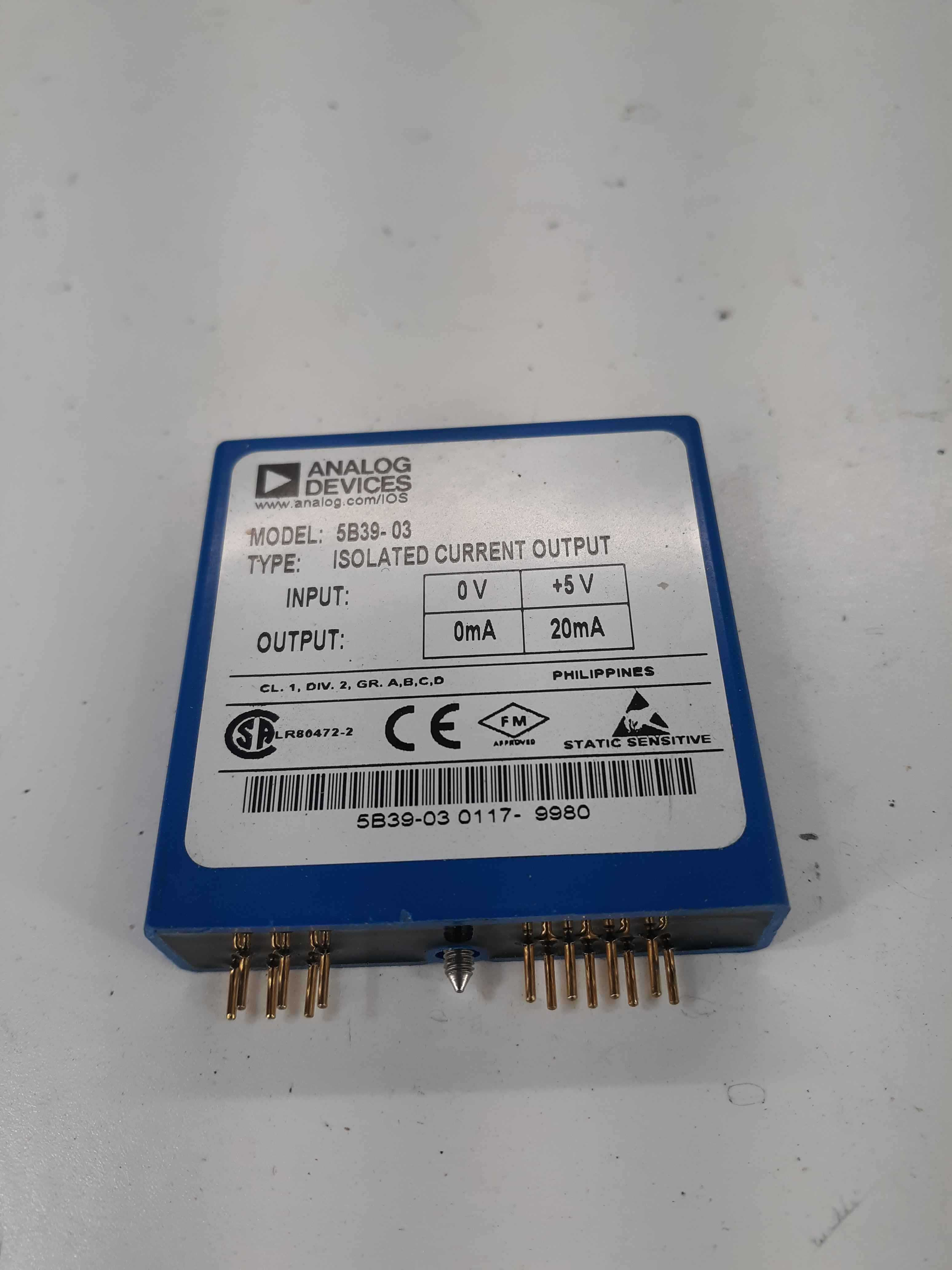 Analog Devices 5B39 03 Isolated Current Output 0-5v 0-20mA AD 5B39-03