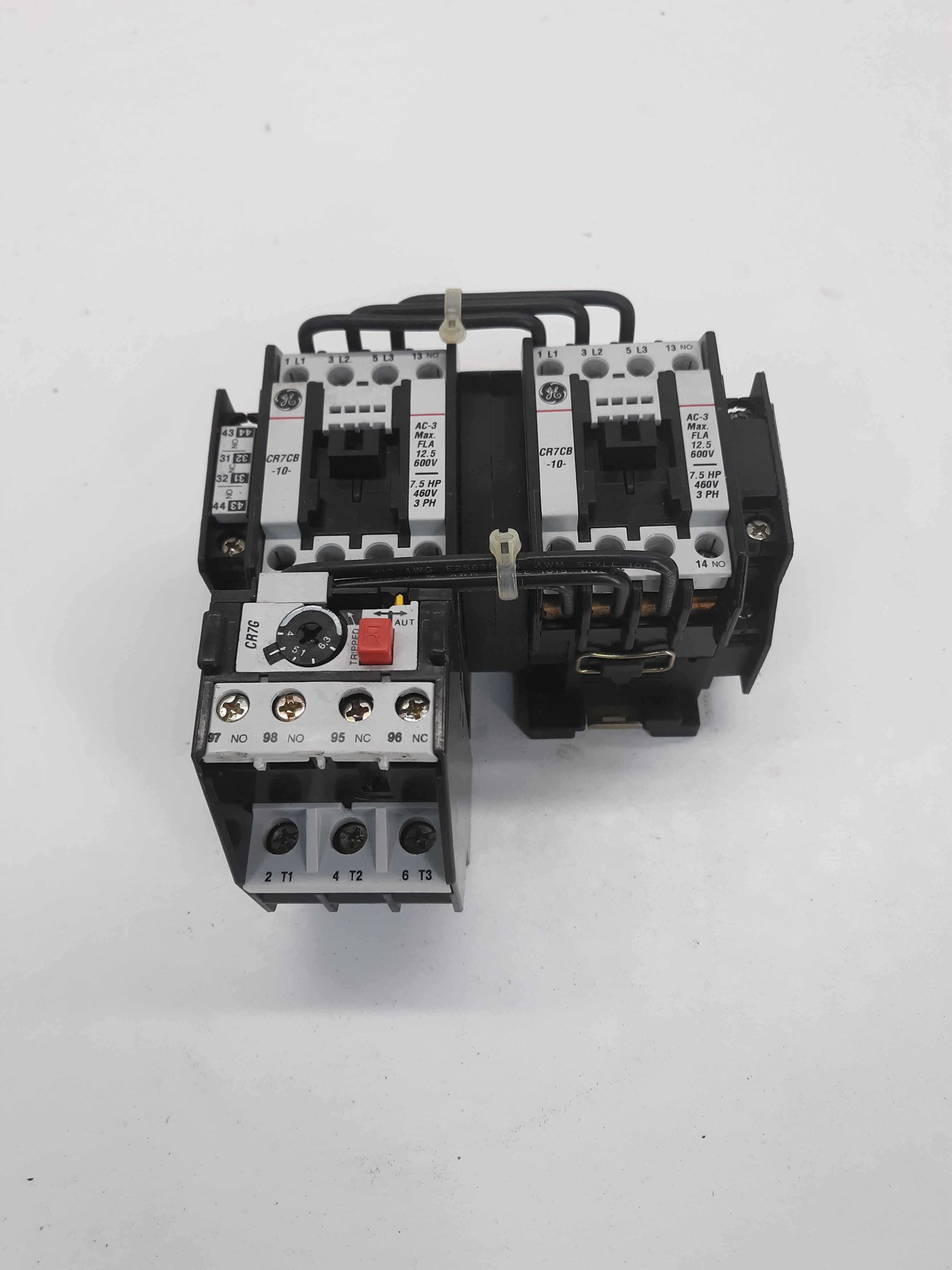 GE CR7CB-10 Start Contactor Reversing 125v Coil w/CR7G Overload Relay 4-6.3A