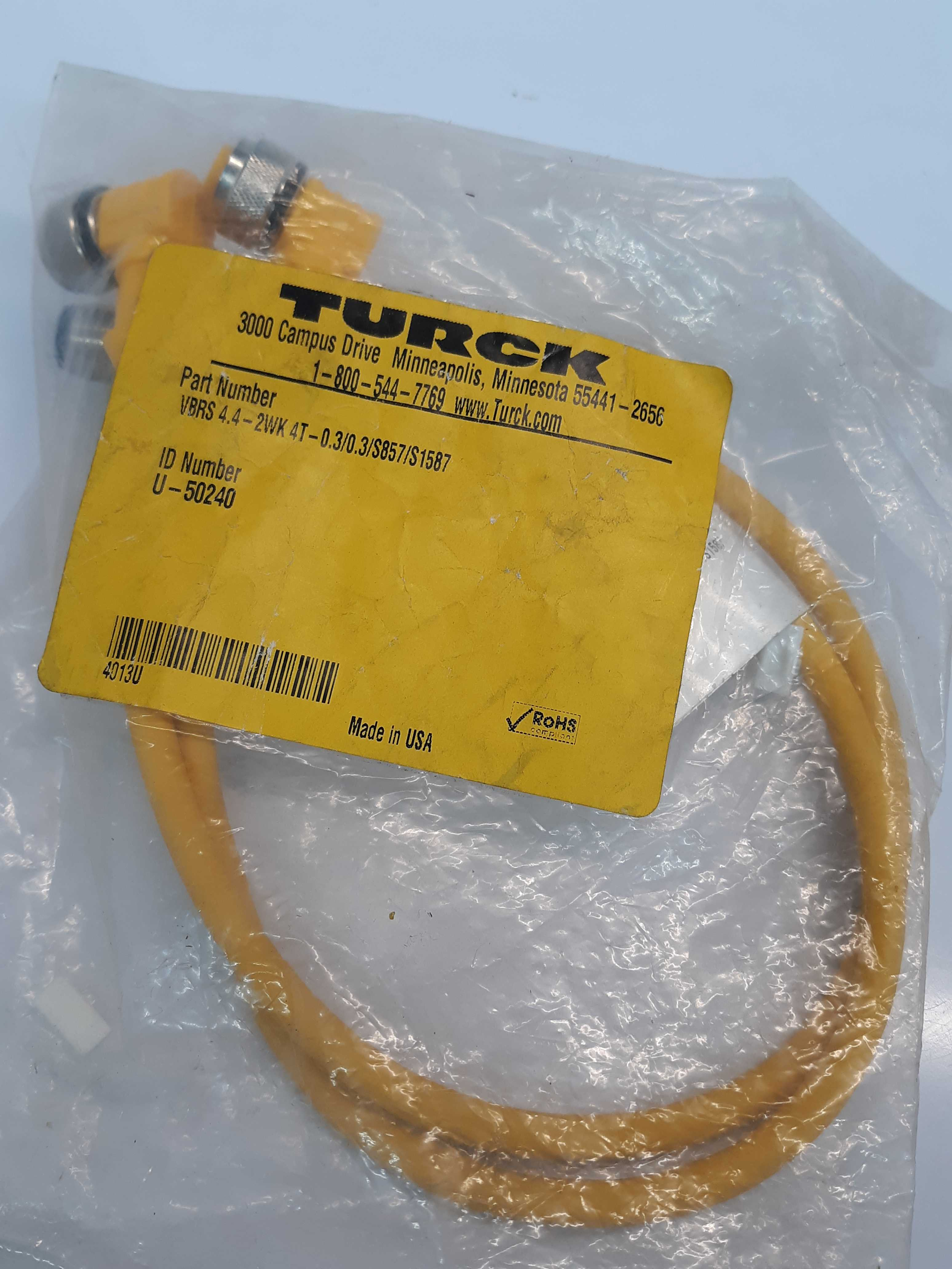 Turck VBRS 4.4-2WK 4T-0.3/0.3/S857/S1587 Cordset Two Female To Male U-50240