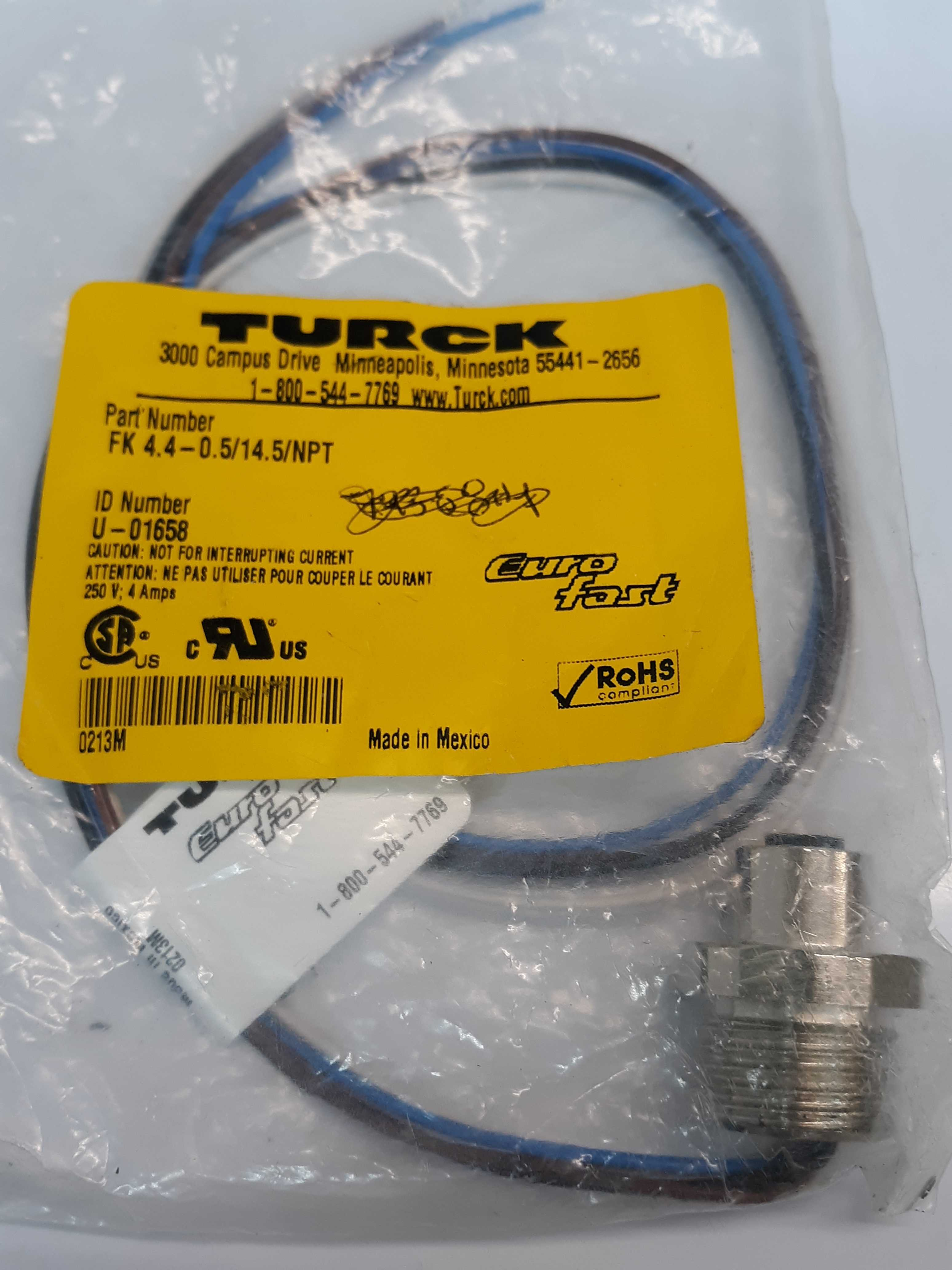 Turck Cord FK4.4-0.5/14.5/NPT Circular Female Connector To 4-Wire U-01658