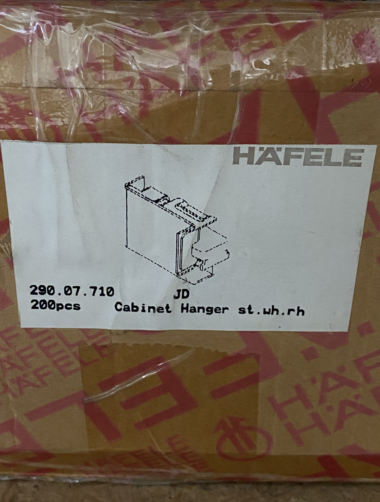 Hafele 290.07.710 Count Bulk Right Screw Mounted Cabinet Hanger Lot of 200
