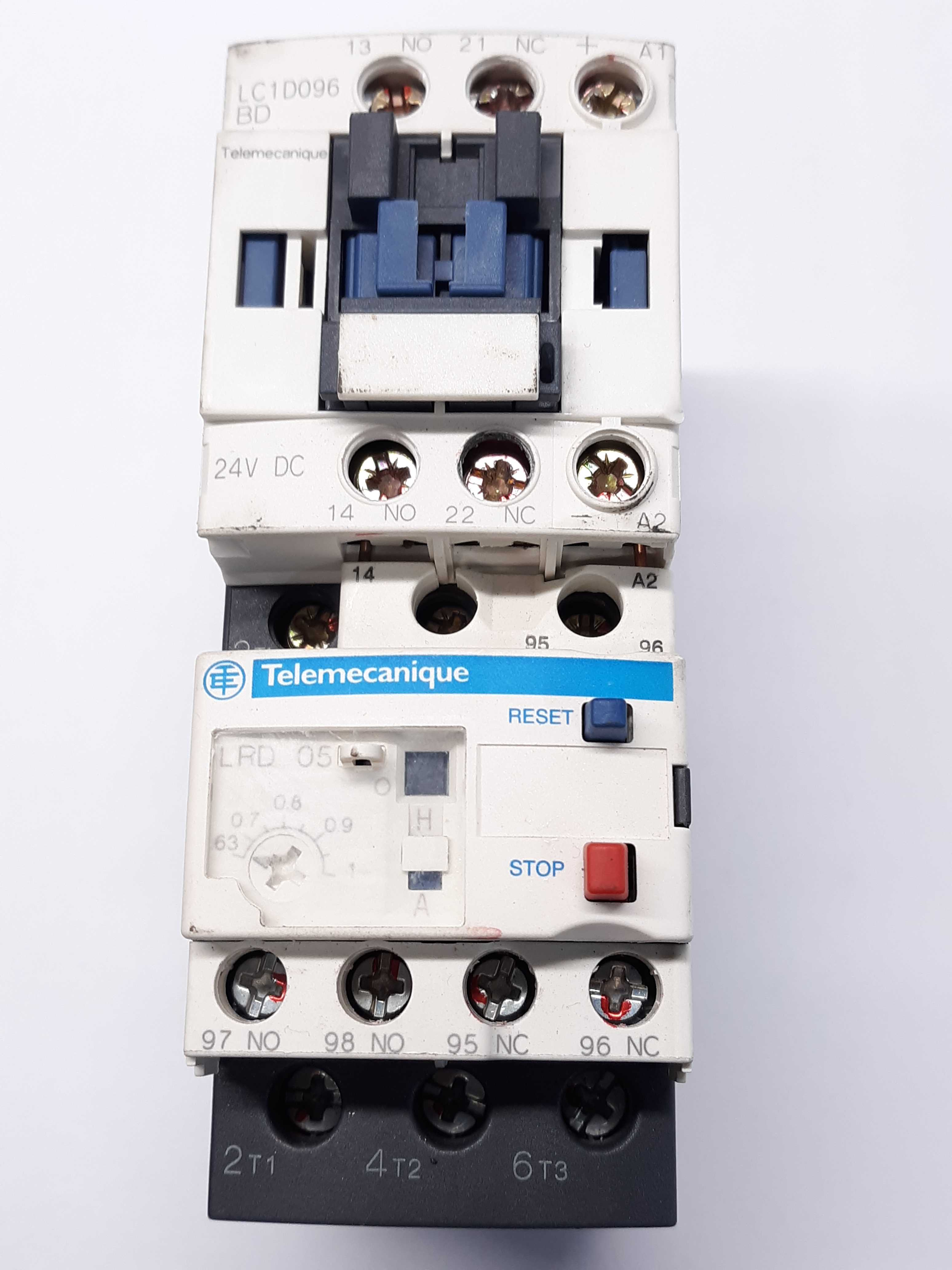 Telemecanique LC1D096BD Contactor w/ LRD 05 Relay 0.63-1A LAD4TBDL