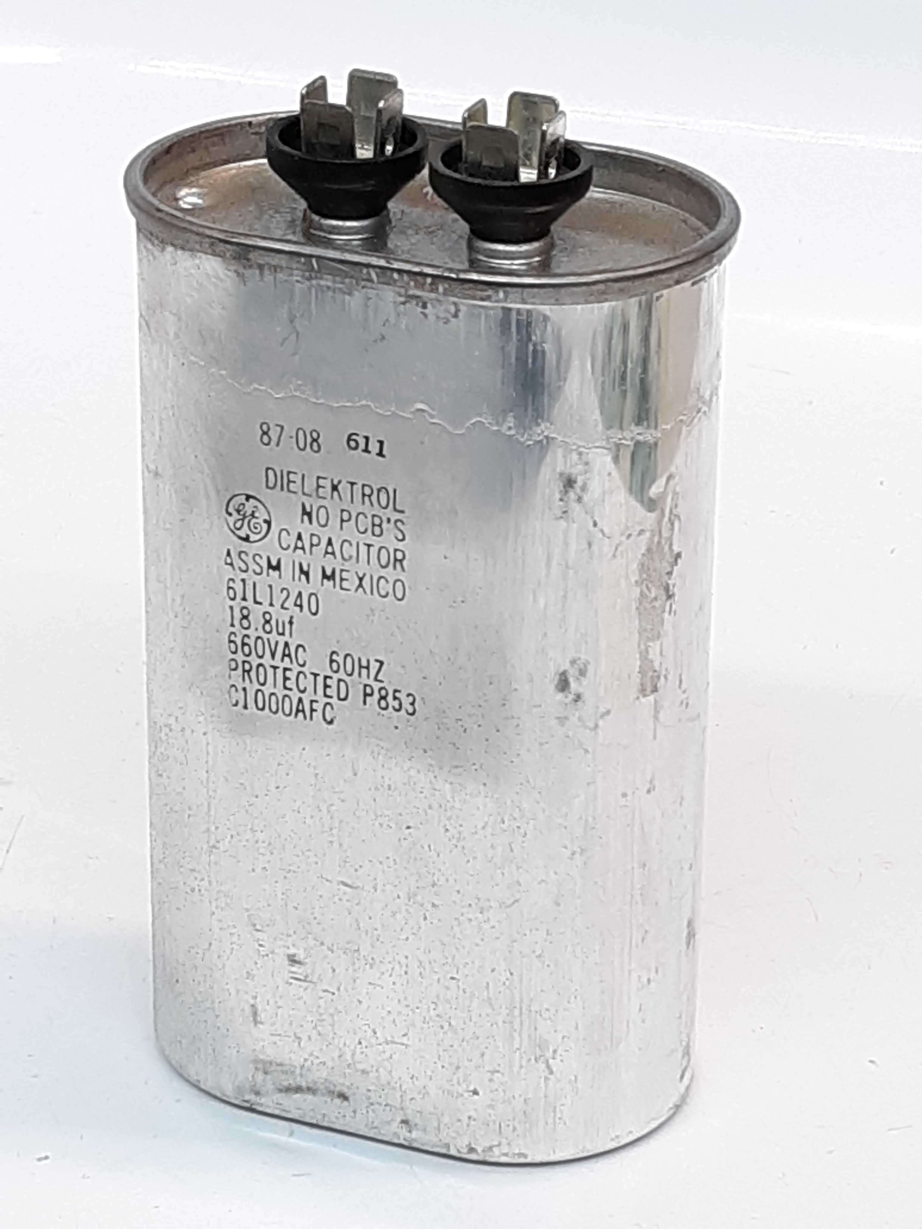 General Electric 61L1240 Dielektrol No PCB'S Capacitor 660 VAC 60Hz