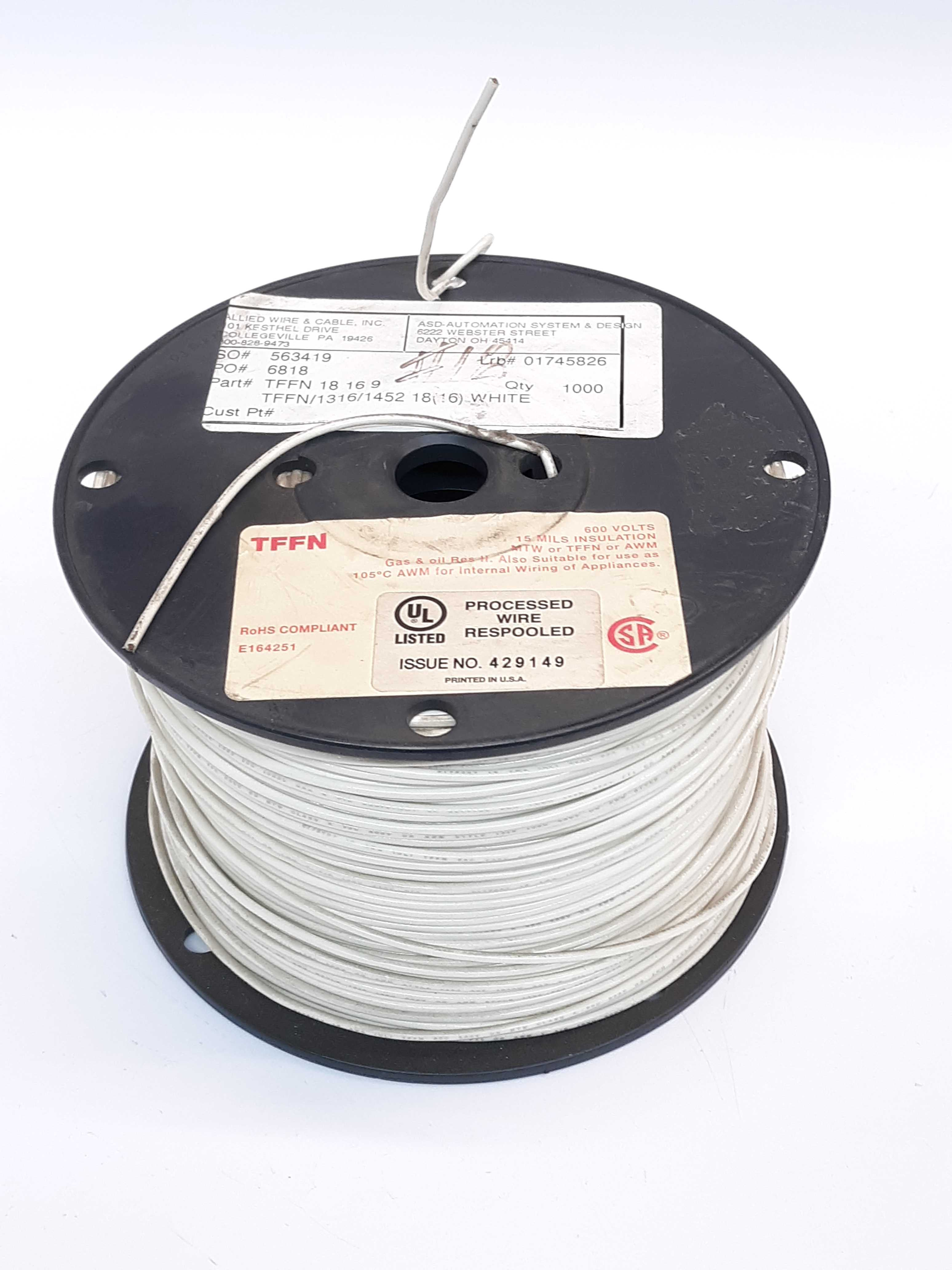 Allied Wire & Cable Inc TFFN 18 16 9 Copper Hookup Wire