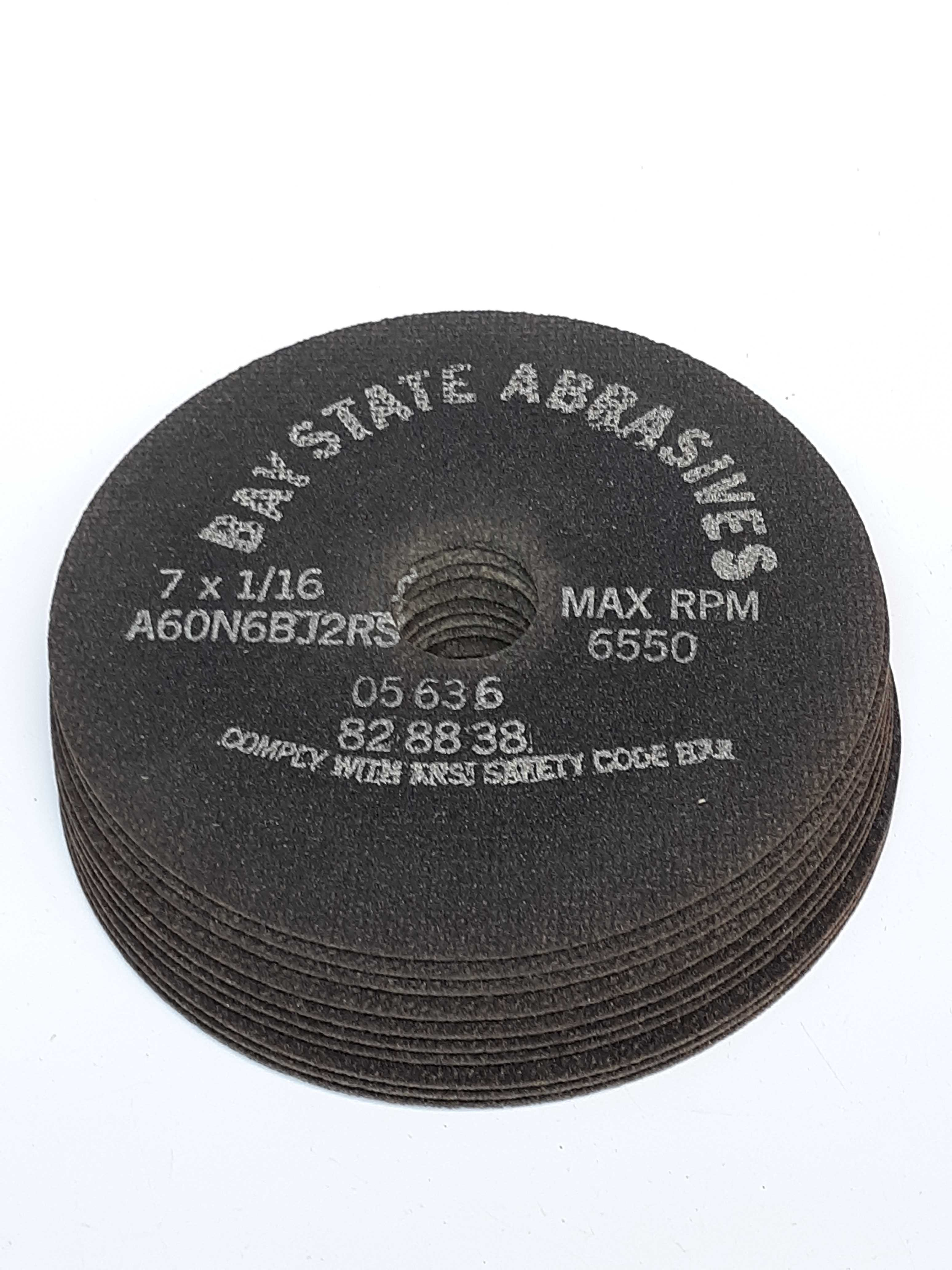 Bay State Abrasives A60N6BJ2RS Grinding Disc 7X1/16 Max RPM 6550 Lot of 10