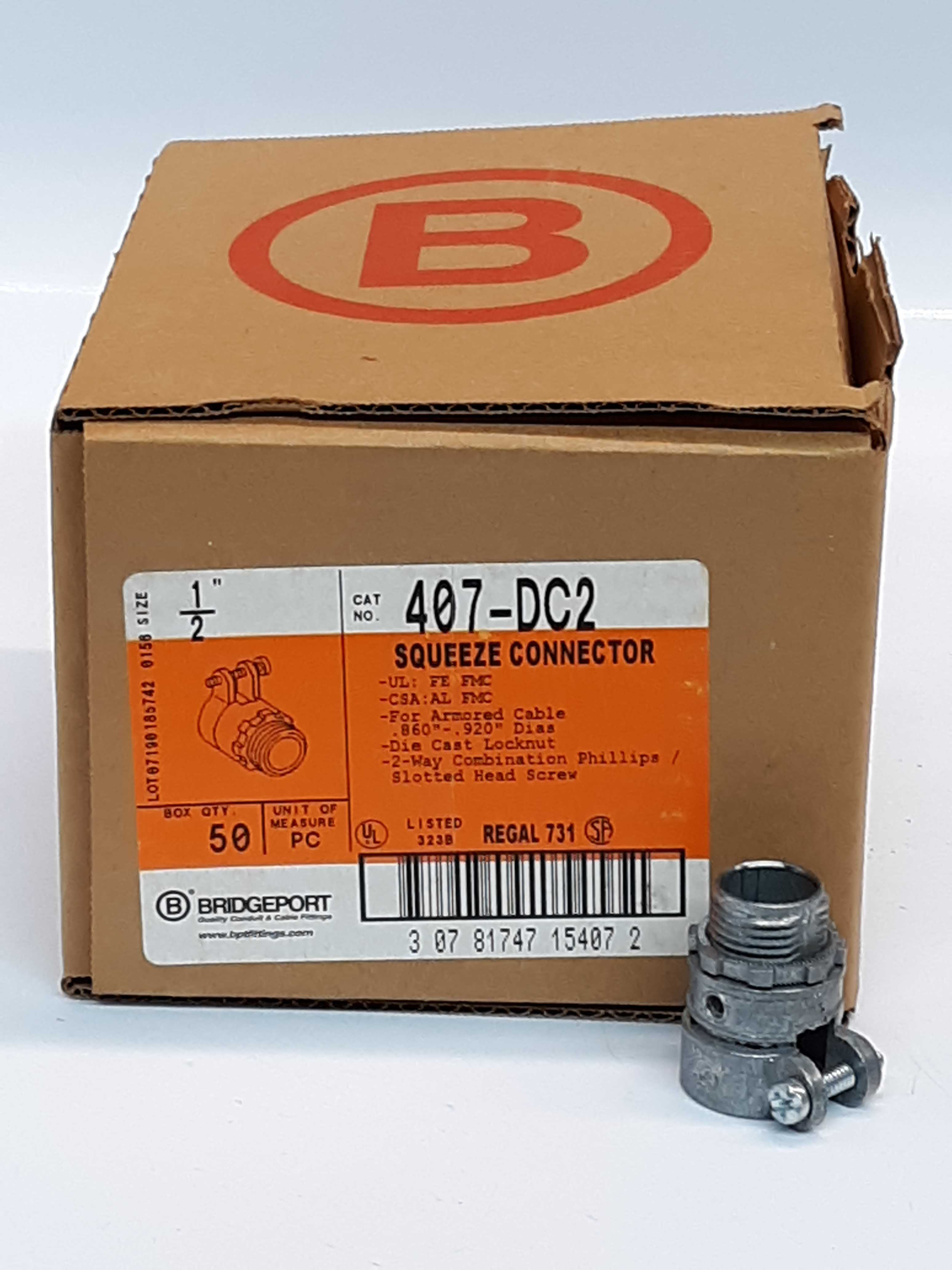 Bridgeport 407-DC2 Squeeze Connector Lot of 50