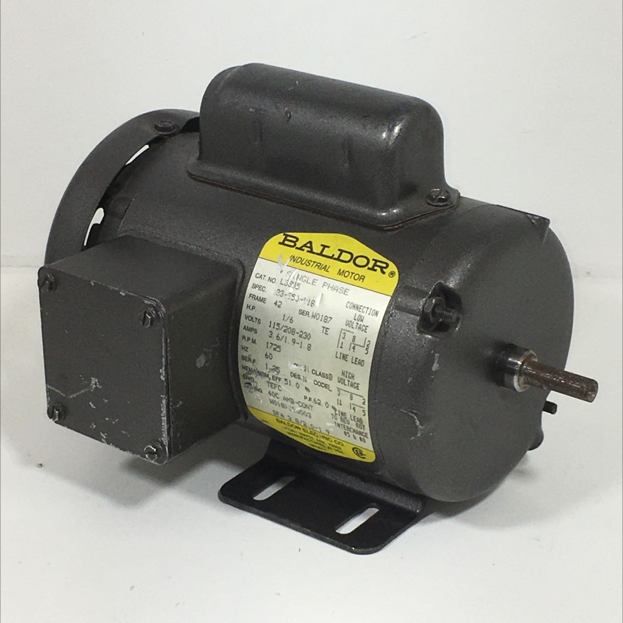 Baldor Electric Co. L3355 Industrial Motor Single Phase