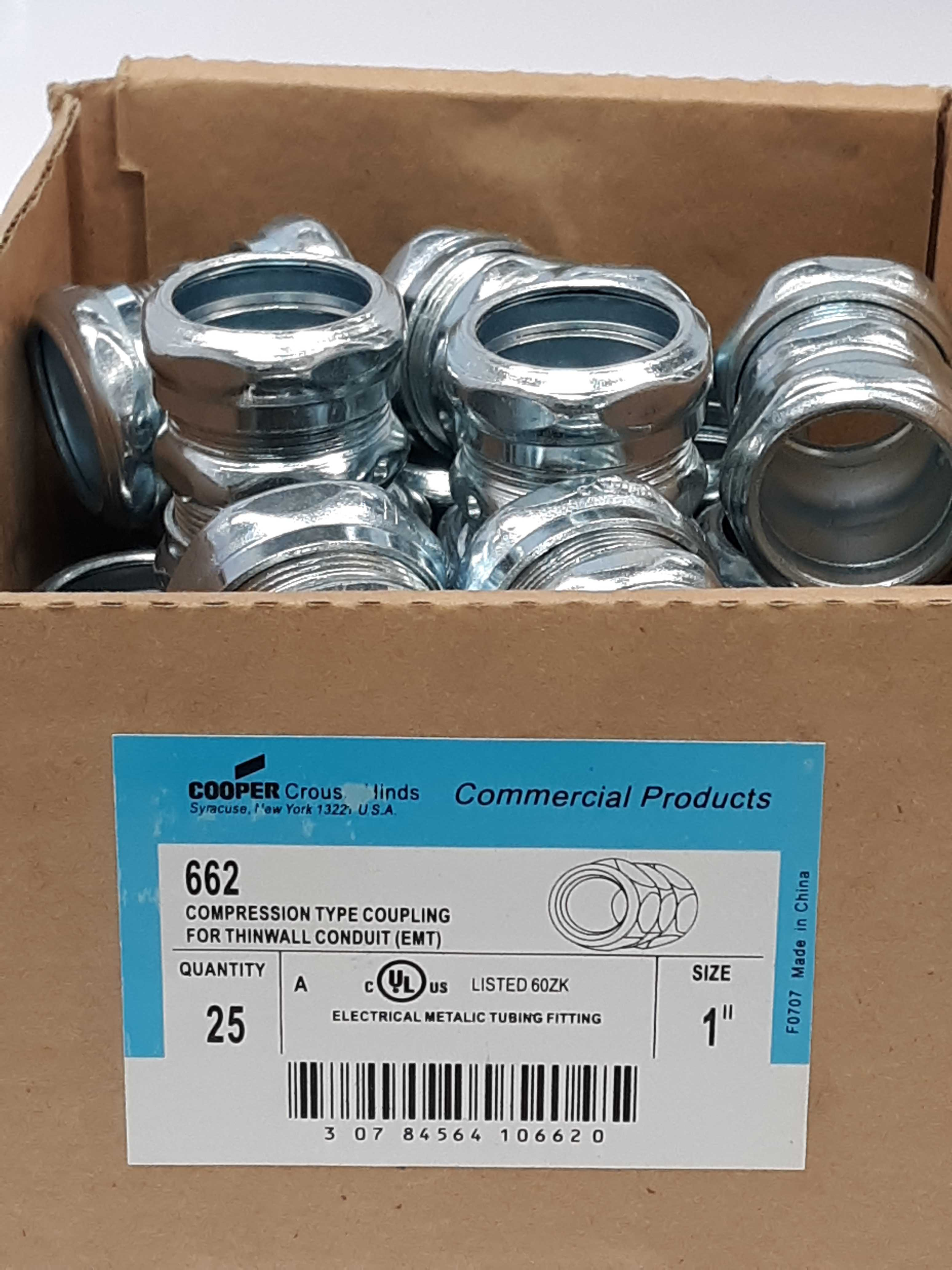 Cooper 662 Compression Type Coupling for Thinwall Conduit 1in Lot of 22